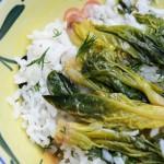 ıspanak köklü pirinç pilavı
